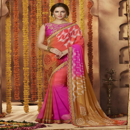 Craftsvilla Multicolor Georgette Printed With Readymade Border Saree