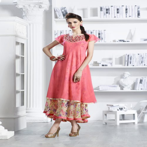Peach With Cream Georgette Readymade Embroidered Indo-western Party Wear Kurti