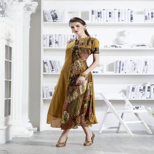 Mustard Yellow Georgette Readymade Embroidered Indo-western Party Wear Kurti