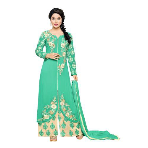 Craftsvilla Green Color Georgette Embroidered 3/4th Sleeves Unstitched Salwar Suit