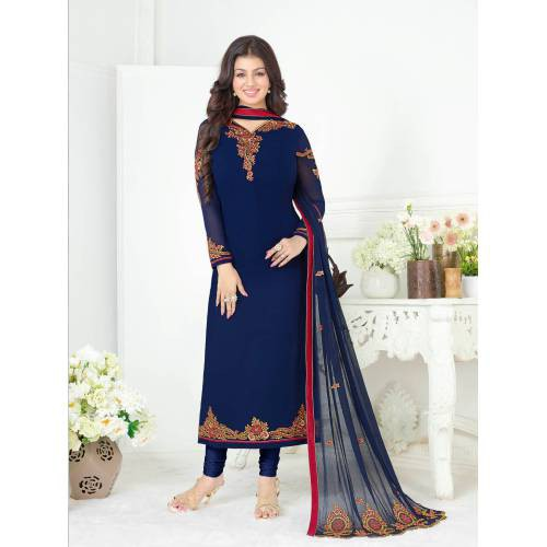 Craftsvilla Blue Color Georgette Embroidered 3/4th Sleeves Unstitched Salwar Suit