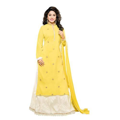 Craftsvilla Yellow Color Georgette Embroidered 3/4th Sleeves Unstitched Salwar Suit