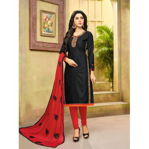 Craftsvilla Black And Red Color Jacquard Cotton Embroidered Unstitched Straight Suit
