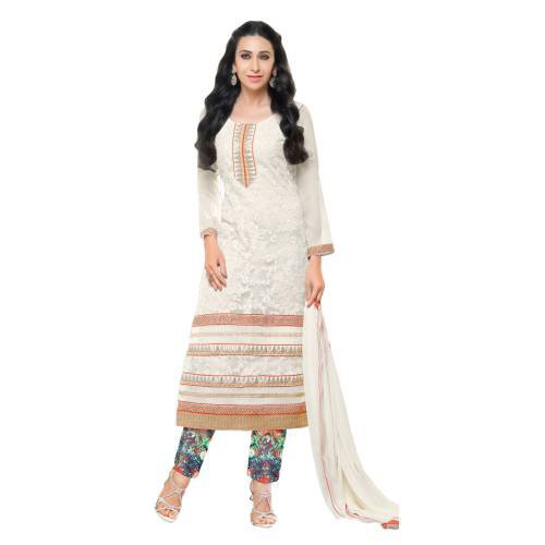 Craftsvilla White Color Net Embroidered Salwar Suit Dress Material