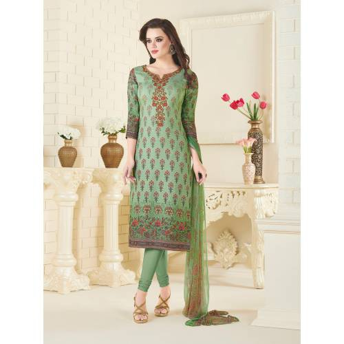 Craftsvilla Green Color Pashmina Embroidered Unstitched Straight Suit