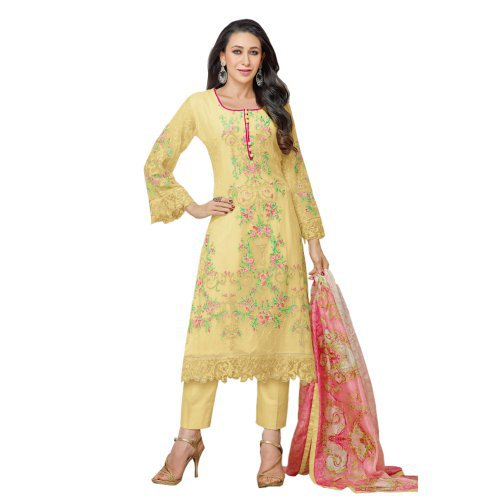Craftsvilla Yellow Color Georgette Embroidered Salwar Suit Dress Material