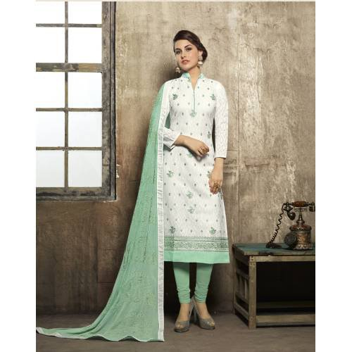 Craftsvilla White Color Jacquard And Cotton Embroidered Unstitched Straight Suit