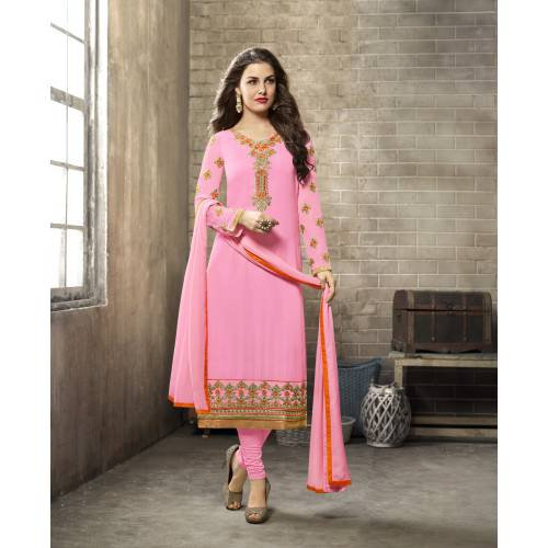 Craftsvilla Pink Color Georgette Embroidered Unstitched Straight Churidar Suit