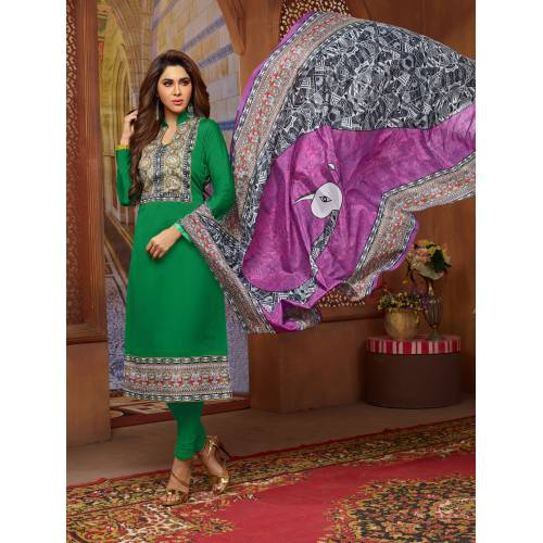 Craftsvilla Green Color Silk Printed Unstitched Straight Suit