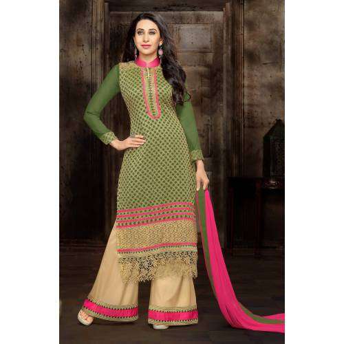 Craftsvilla Green Color Georgette Embroidered Salwar Suit Dress Material