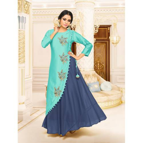 Craftsvilla Turquoise Color Satin And Silk Resham Embroidery A-line Designer Gown
