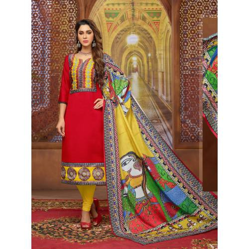 Craftsvilla Red Color Silk Printed Unstitched Straight Suit