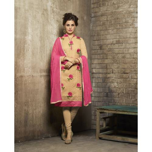 Craftsvilla Yellow Color Jacquard And Cotton Embroidered Unstitched Straight Suit
