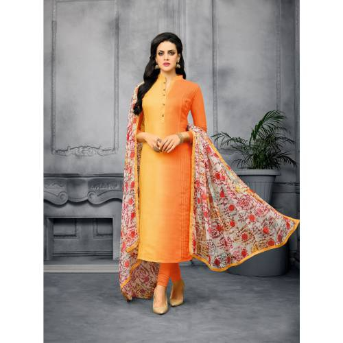 Craftsvilla Yellow And Orange Color Cotton Embroidered Unstitched Straight Suit