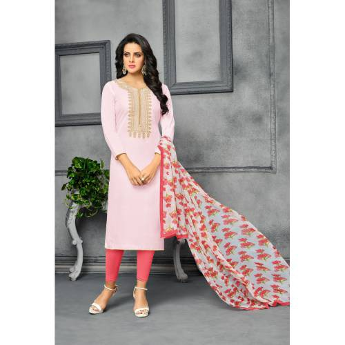 Craftsvilla Pink Color Chanderi And Cotton Embroidered Unstitched Straight Suit