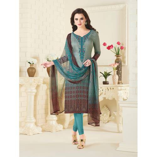 Craftsvilla Teal Green Color Pashmina Embroidered Unstitched Straight Suit