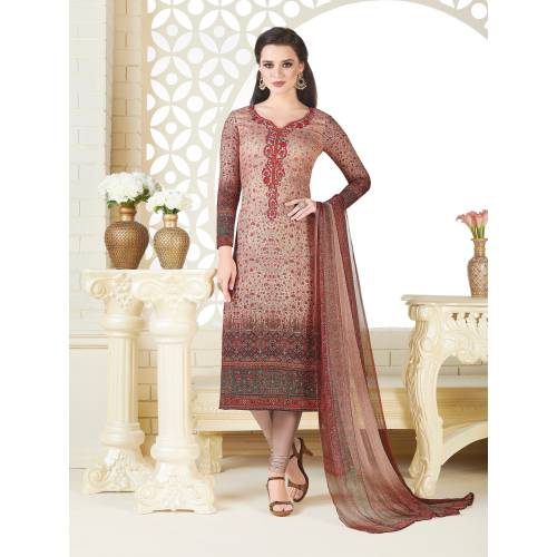 Craftsvilla Brown Color Pashmina Embroidered Unstitched Straight Suit