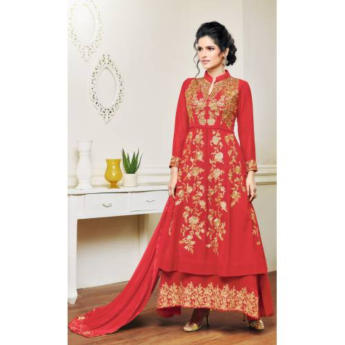 Craftsvilla Red Color Georgette Embroidered Unstitched Layered Anarkali Suit
