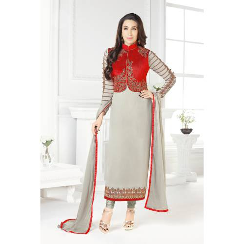 Craftsvilla Grey And Red Color Georgette Embroidered Unstitched Jacket Style Suit