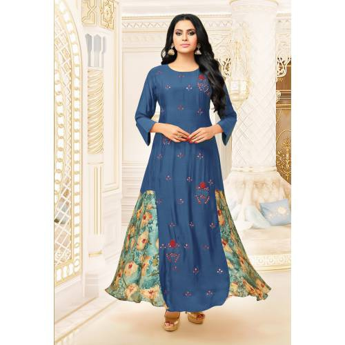 Craftsvilla Blue Color Satin And Silk Resham Embroidery A-line Designer Gown