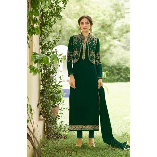 Craftsvilla Green Color Georgette Embroidered Unstitched Jacket Style Suit