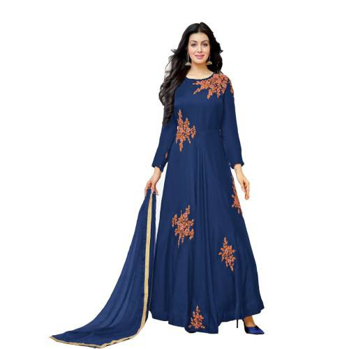 Craftsvilla Blue Color Cotton Embroidered Circular Unstitched Anarkali Suit