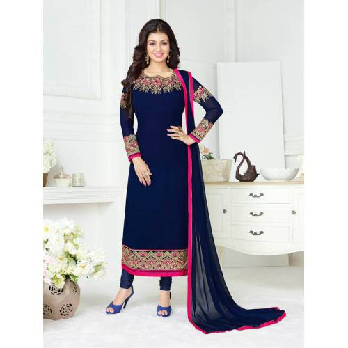 Craftsvilla Blue Color Georgette Embroidered Unstitched Straight Suit