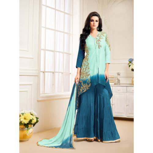 Craftsvilla Sky Blue And Teal Blue Color Bangalore Silk Embroidered Unstitched Straight Suit
