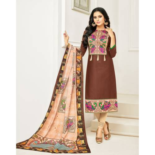 Craftsvilla Brown Color Cotton Printed Unstitched Traditional Straight Suit