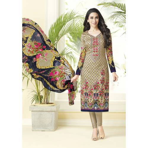 Craftsvilla Beige Color Cotton Embroidered Unstitched Straight Suit