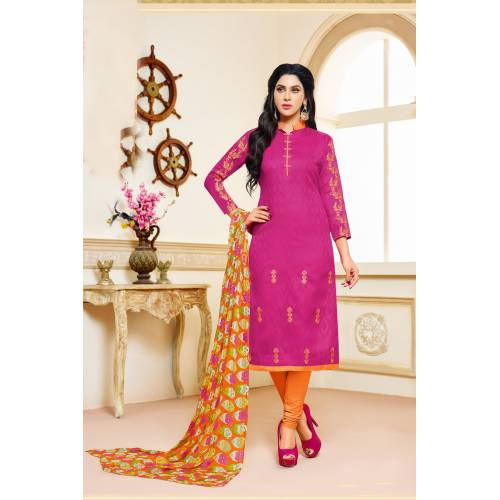 Craftsvilla Pink Color Jacquard Cotton Embroidered Unstitched Straight Suit