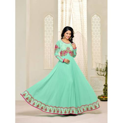 Craftsvilla Turquoise Color Georgette Embellished Unstitched A Line Style Suit