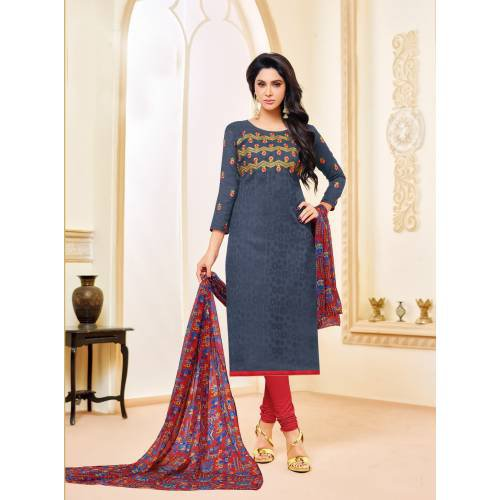 Craftsvilla Grey Color Jacquard Cotton Embroidered Unstitched Straight Suit