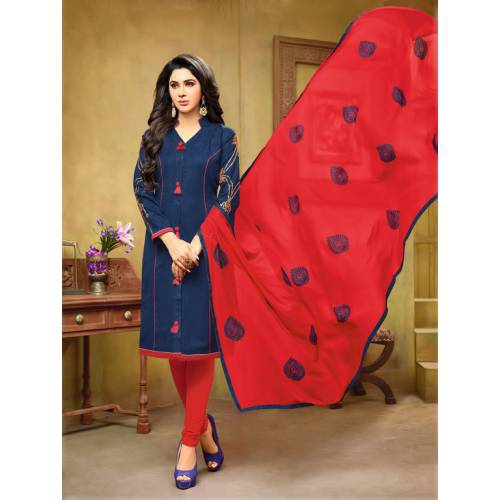 Craftsvilla Blue And Red Color Jacquard Cotton Embroidered Unstitched Straight Suit