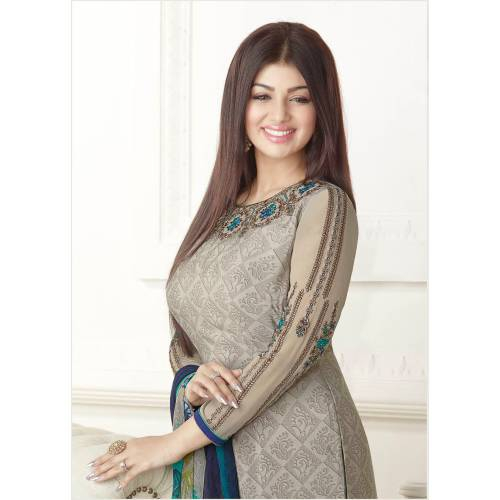 Craftsvilla Grey Color Crepe Printed And Embroidered 3/4th Sleeves Unstitched Salwar Suit