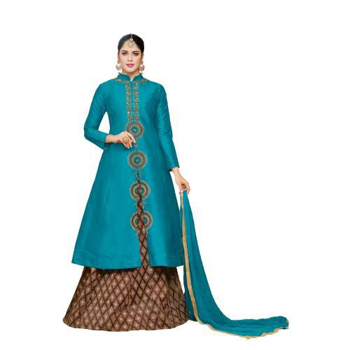 Craftsvilla Teal Blue Color Silk Embroidered 3/4th Sleeves Unstitched Salwar Suit