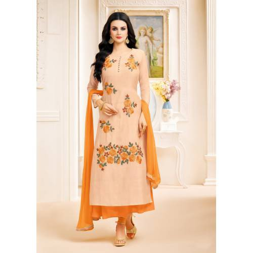 Craftsvilla Beige And Orange Color Chanderi Embroidered Unstitched A Line Style Suit