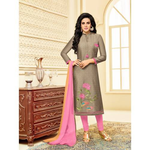 Craftsvilla Brown Color Chanderi Embroidered 3/4th Sleeves Unstitched Salwar Suit