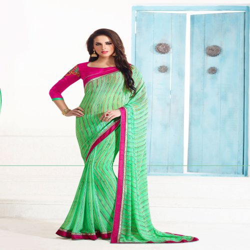 Craftsvilla Multicolor Georgette Embellished Saree With Embroidered Blouse Piece