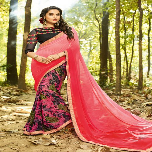 Craftsvilla Multicolor Georgette Embellished Saree