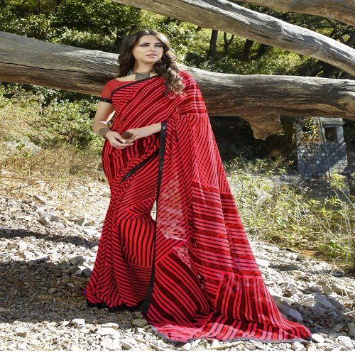 Craftsvilla Red Color Georgette Lace Work Designer Saree