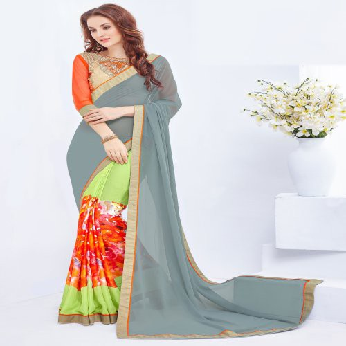 Craftsvilla Multicolor Georgette And Jacquard Printed Saree With Embroidered Blouse Piece