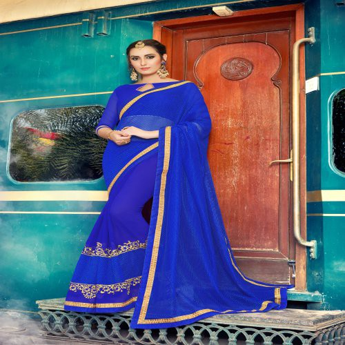Craftsvilla Blue Georgette Embellished Saree