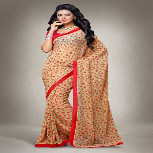Craftsvilla Beige And Red Color Georgette Printed Saree