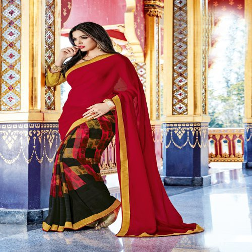 Craftsvilla Multicolor Georgette Lace Work Designer Saree