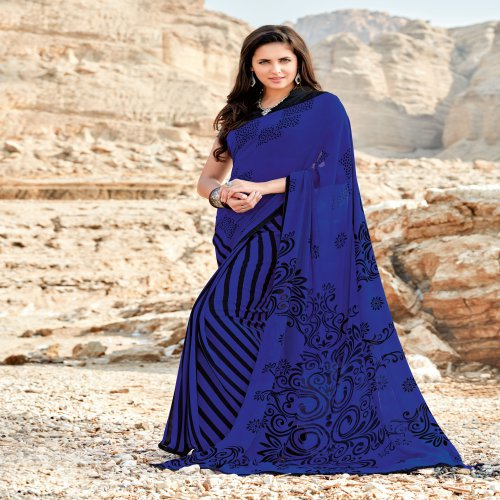 Craftsvilla Blue Georgette Printed Saree