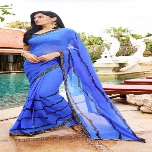 Craftsvilla Blue Color Georgette Printed Saree