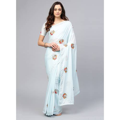 Craftsvilla Sky Blue Organza Embroidered Designer Saree With Unstitched Blouse Material