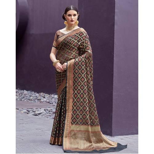 a61b8fda80079a Buy Craftsvilla Black Silk Blend Banarasi Woven Saree With Unstitched  Blouse Piece Online