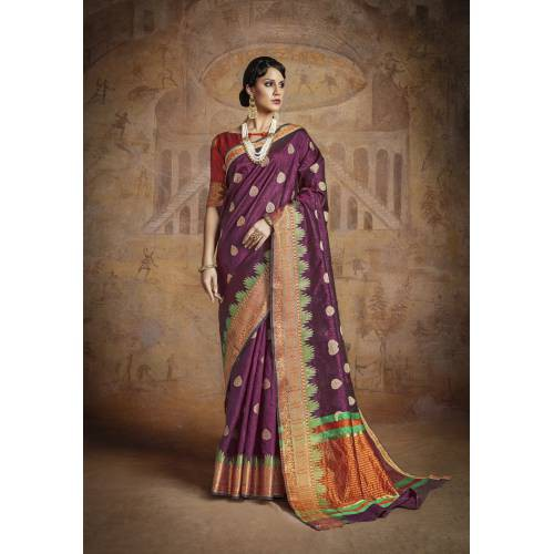 d7de9c258fd589 Buy Craftsvilla Violet Silk Blend Zari Work Designer Saree With Unstitched  Blouse Material Online